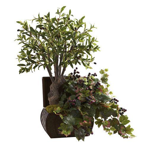nearly natural Olive Tree & Grape Leaf Arrangement