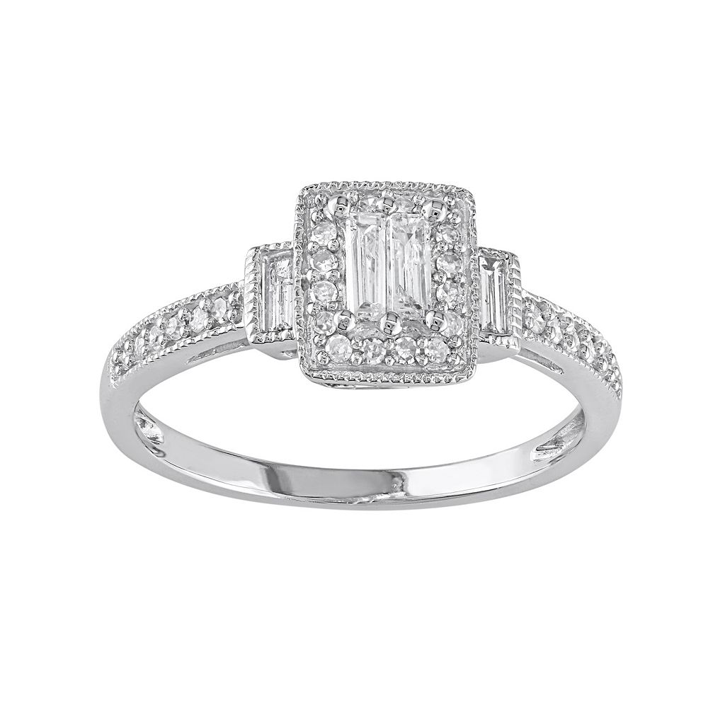 Diamond Rectangle Halo Engagement Ring in 10k White Gold (1/3 ct. T.W.)