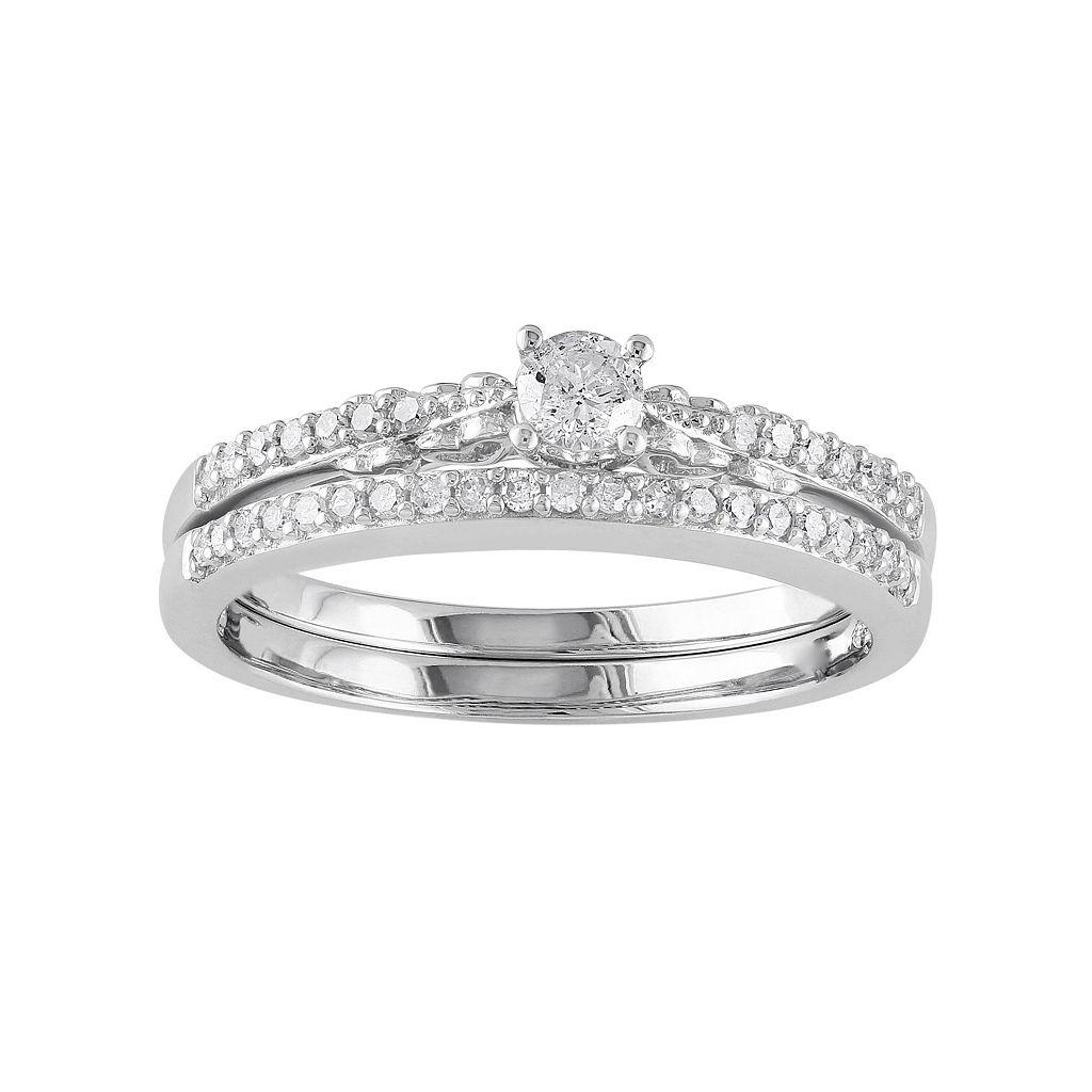 Diamond Engagement Ring Set in 10k White Gold (1/3 ct. T.W.)