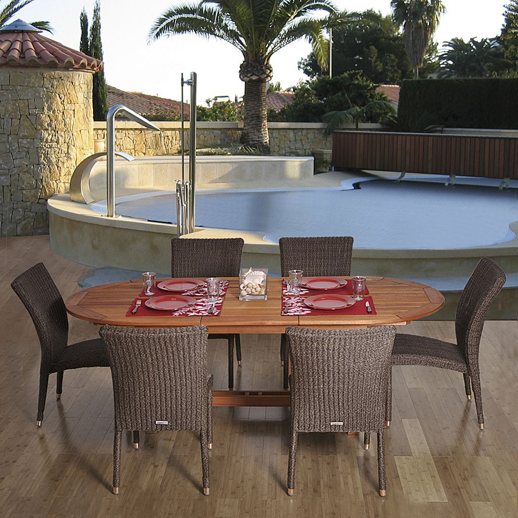 Amazonia Caen 7-pc. Extendable Oval Dining Set - Outdoor