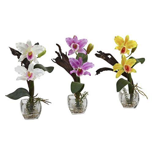 nearly natural 3-pc. Cattleya Orchid Arrangement Set