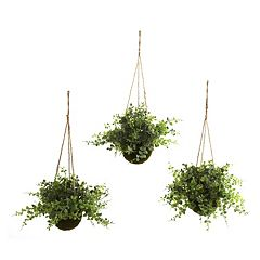 nearly natural 3 pc Eucalyptus, Maiden Hair & Berry Hanging Plant Basket Set