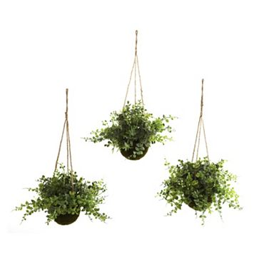 nearly natural 3-pc. Eucalyptus, Maiden Hair & Berry Hanging Plant Basket Set