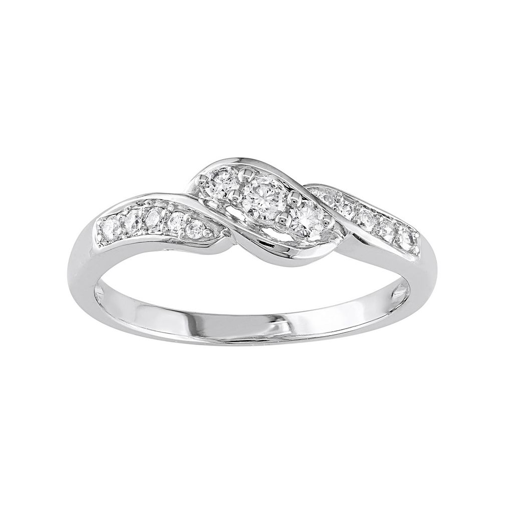 10k White Gold 1/4-ct. T.W. Diamond Swirl Ring