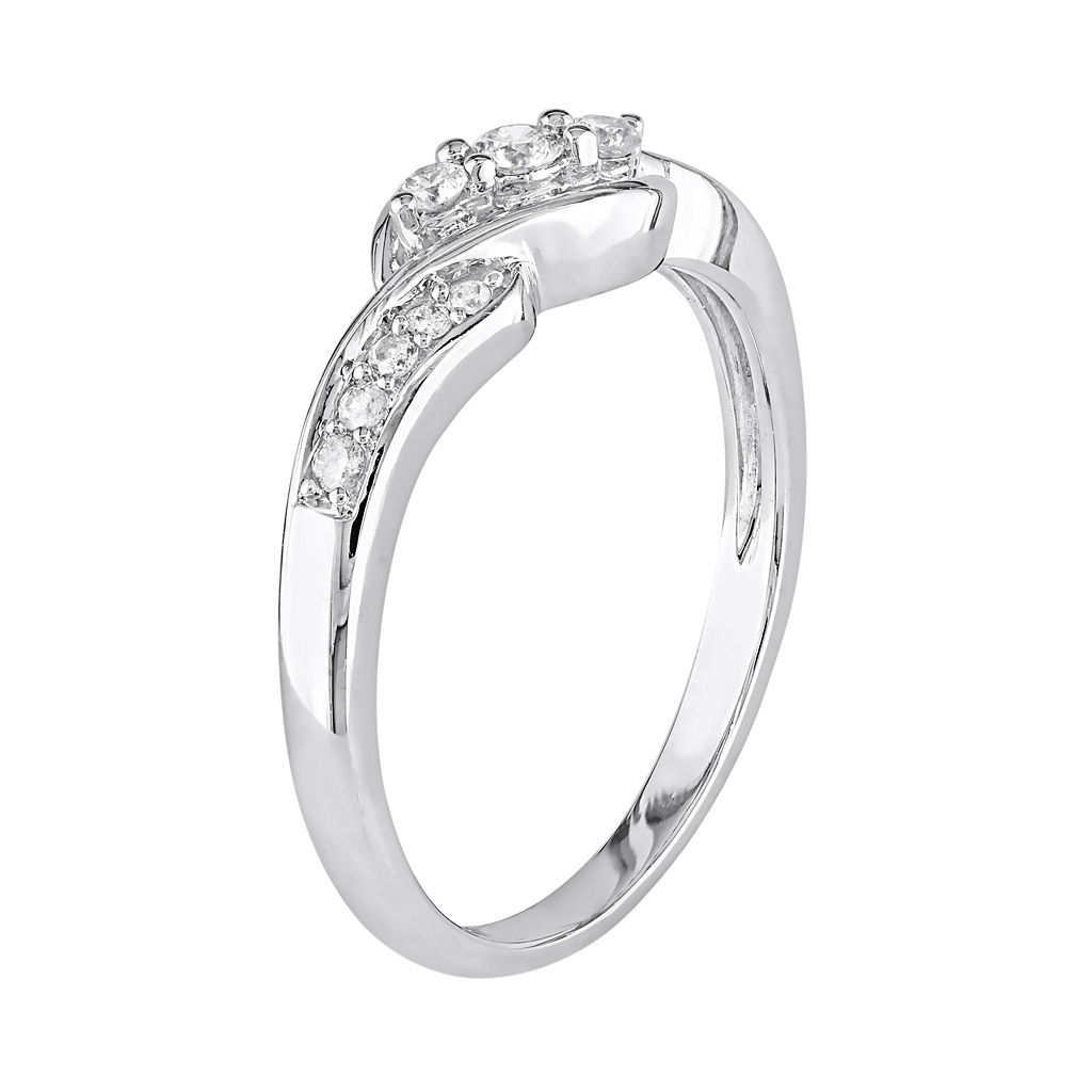 10k White Gold 1/4-ct. T.W. Diamond Swirl Ring