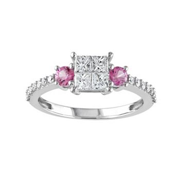 Diamond & Pink Sapphire Engagement Ring in 14k White Gold (1/2 ct. T.W.)