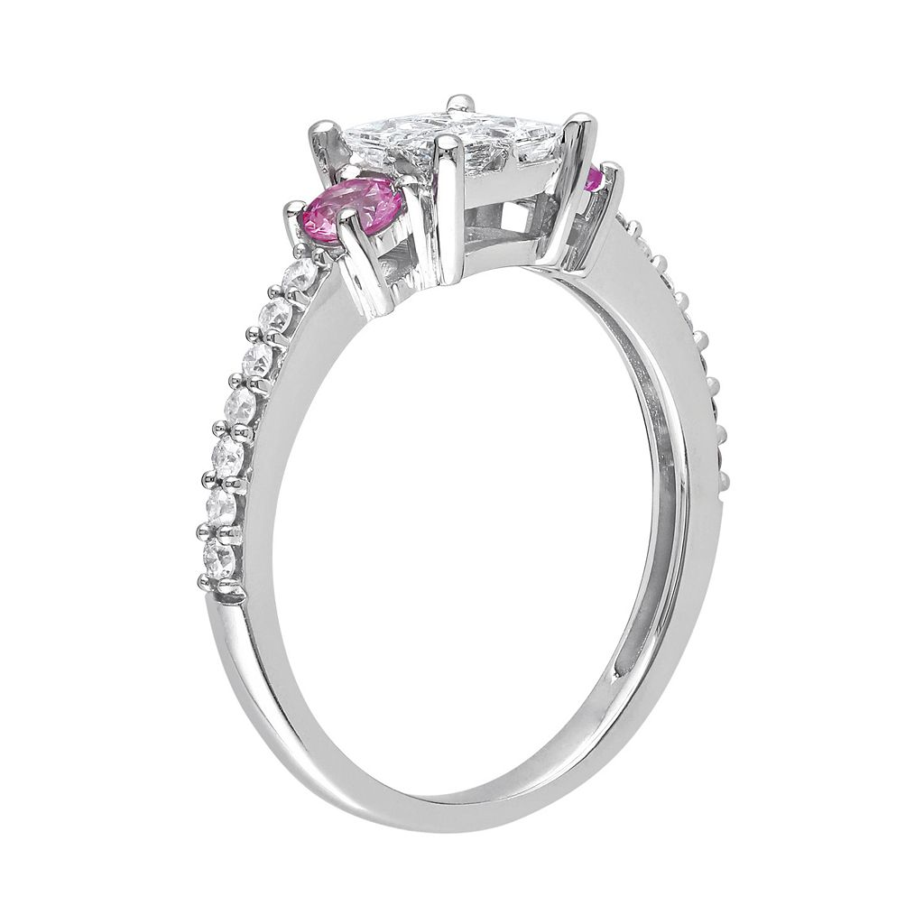 Diamond and Pink Sapphire Engagement Ring in 14k White Gold (1/2 ct. T.W.)