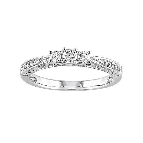 10k White Gold 1/4-ct. T.W. Diamond Trellis Ring