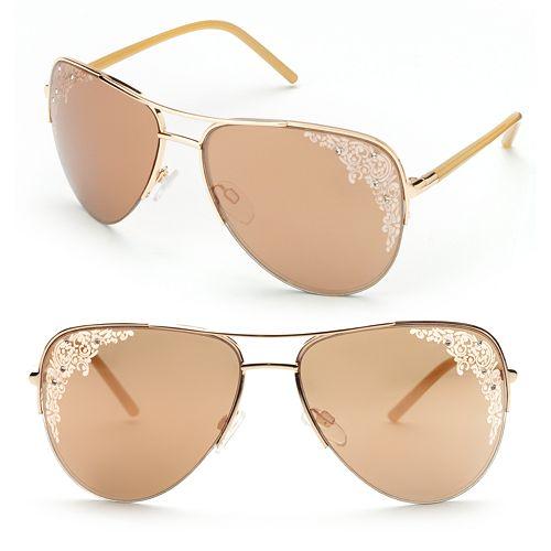 1382da89018 Candie s® Etched Rhinestone Aviator Sunglasses