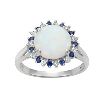 Sterling Silver Lab-Created Opal Halo Ring