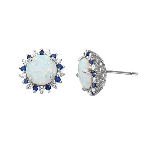 Sterling Silver Lab-Created Opal Halo Stud Earrings