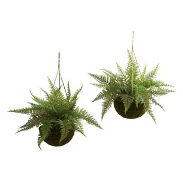 nearly natural 2-pc. Fern Hanging Plant Basket Set - Indoor & Outdoor