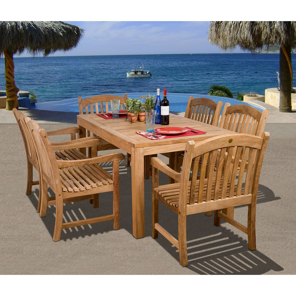 Amazonia Teak Dover Rectangular Dining 7-piece Set