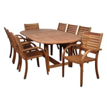 Amazonia Douglas 9-pc. Extendable Oval Dining Set - Outdoor