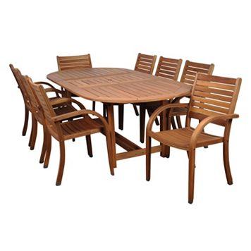 Amazonia Douglas 9-pc. Extendable Oval Dining Set - Outdoor