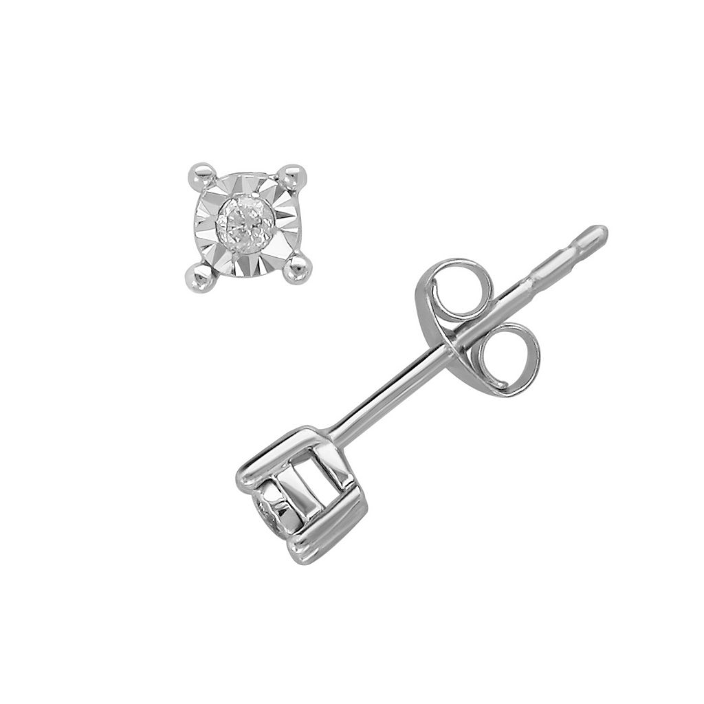 Sterling Silver Diamond Accent Stud Earrings