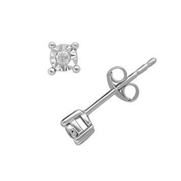 Sterling Silver Diamond Accent Stud Earrings