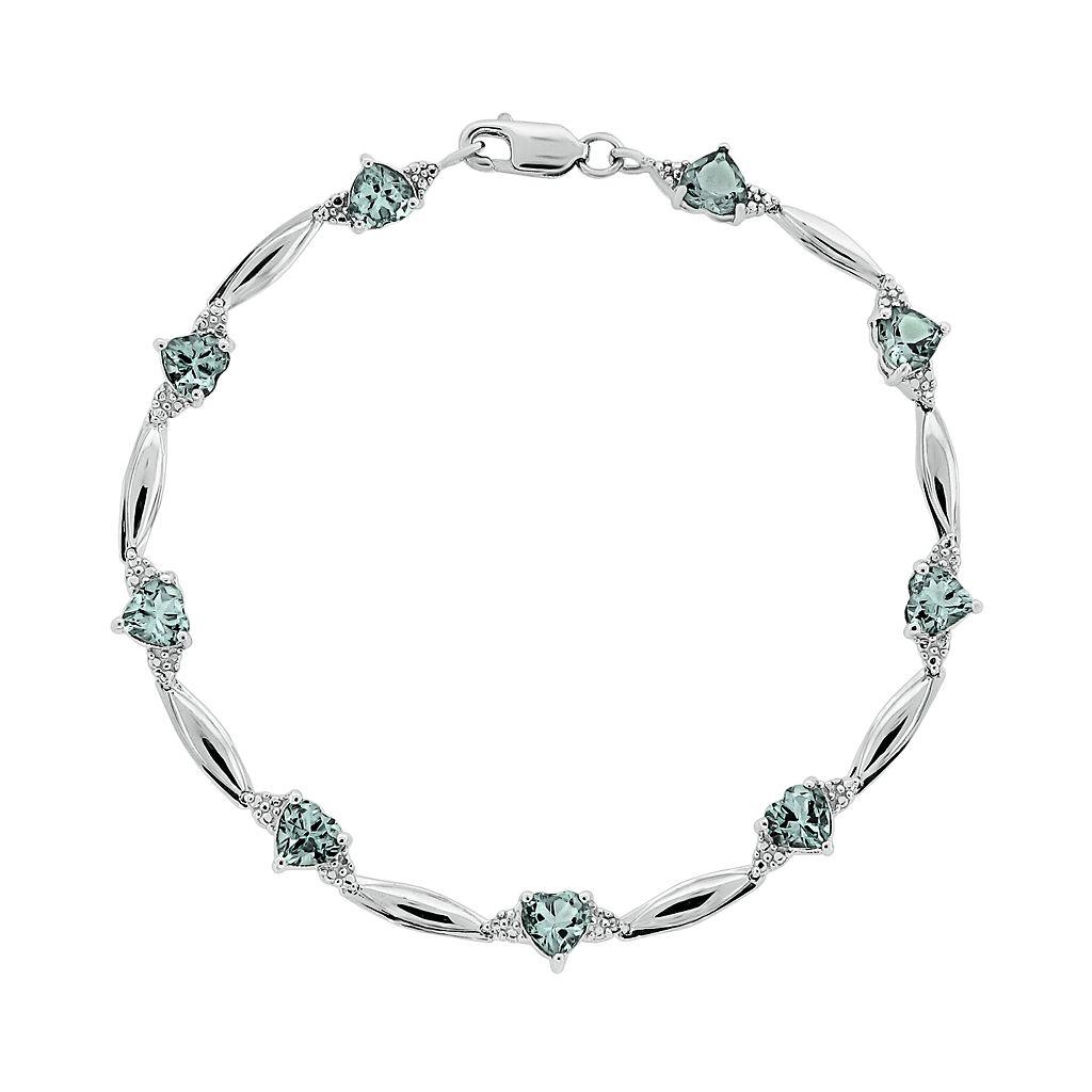 Sterling Silver Aquamarine & Diamond Accent Heart Bracelet