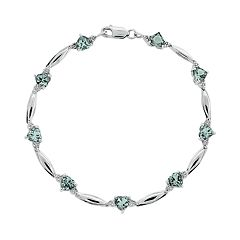 Sterling Silver Aquamarine & Diamond Accent Heart Bracelet