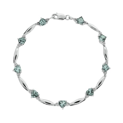 Sterling Silver Aquamarine and Diamond Accent Heart Bracelet