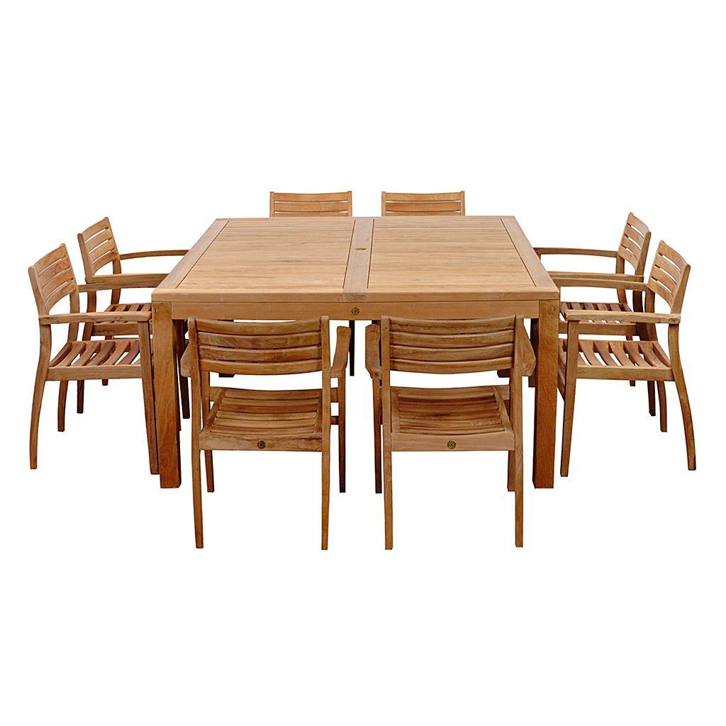 Amazonia Teak Vittoria 9-pc. Square Dining Set - Outdoor