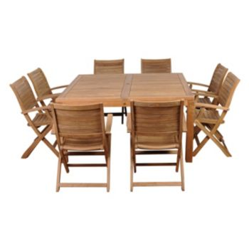 Amazonia Teak Louvre 9-pc. Square Dining Set - Outdoor