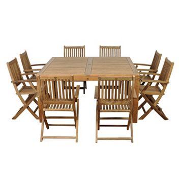 Amazonia Teak Pretoria 9-pc. Square Dining Set - Outdoor