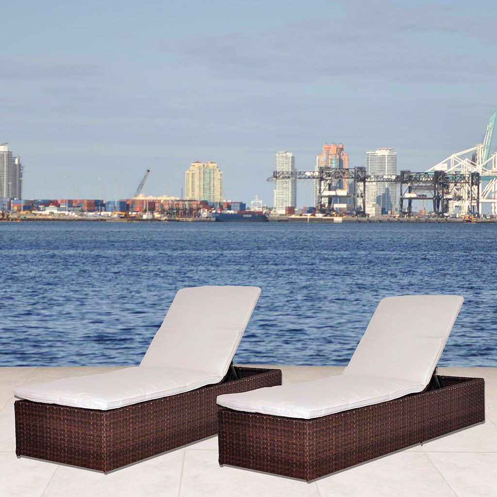 Atlantic Stanford Synthetic Wicker Chaise Lounger 2-piece Set