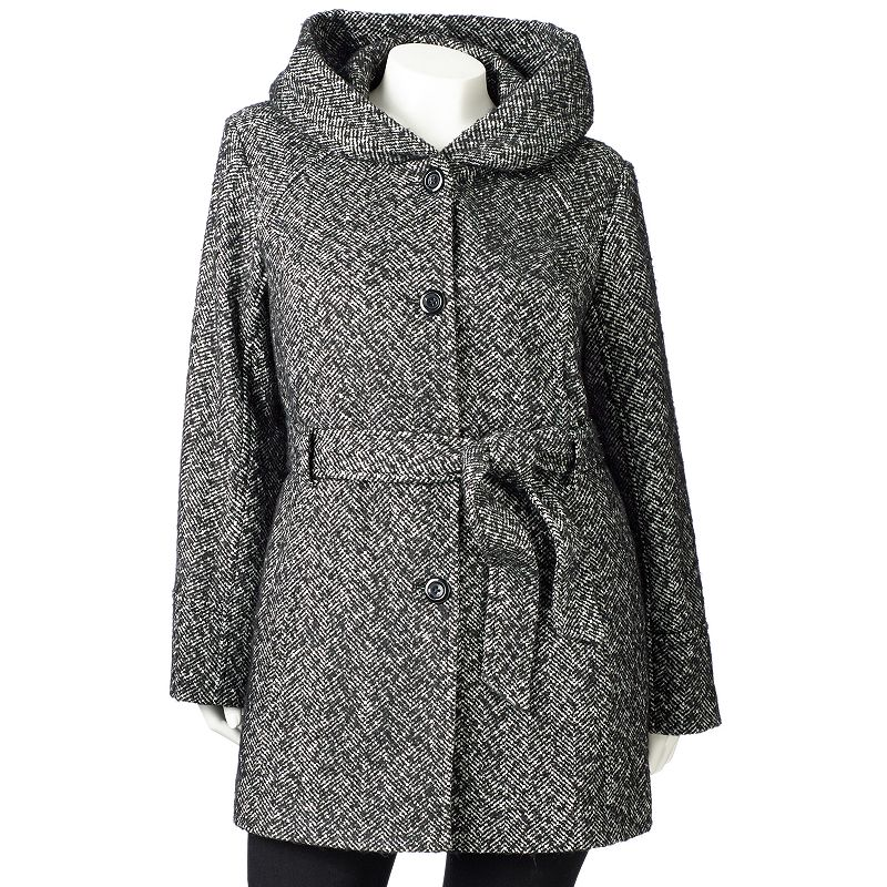 Croft & Barrow Herringbone Wool Blend Trench Coat - Women's Plus