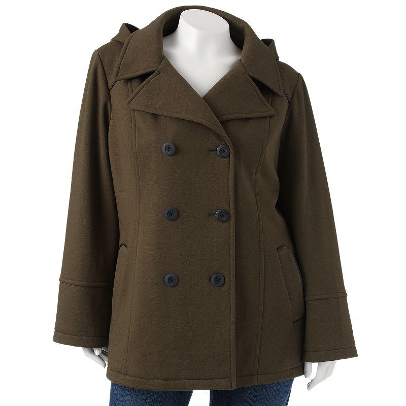 Apt. 9 Hooded Fleece Peacoat - Women's Plus