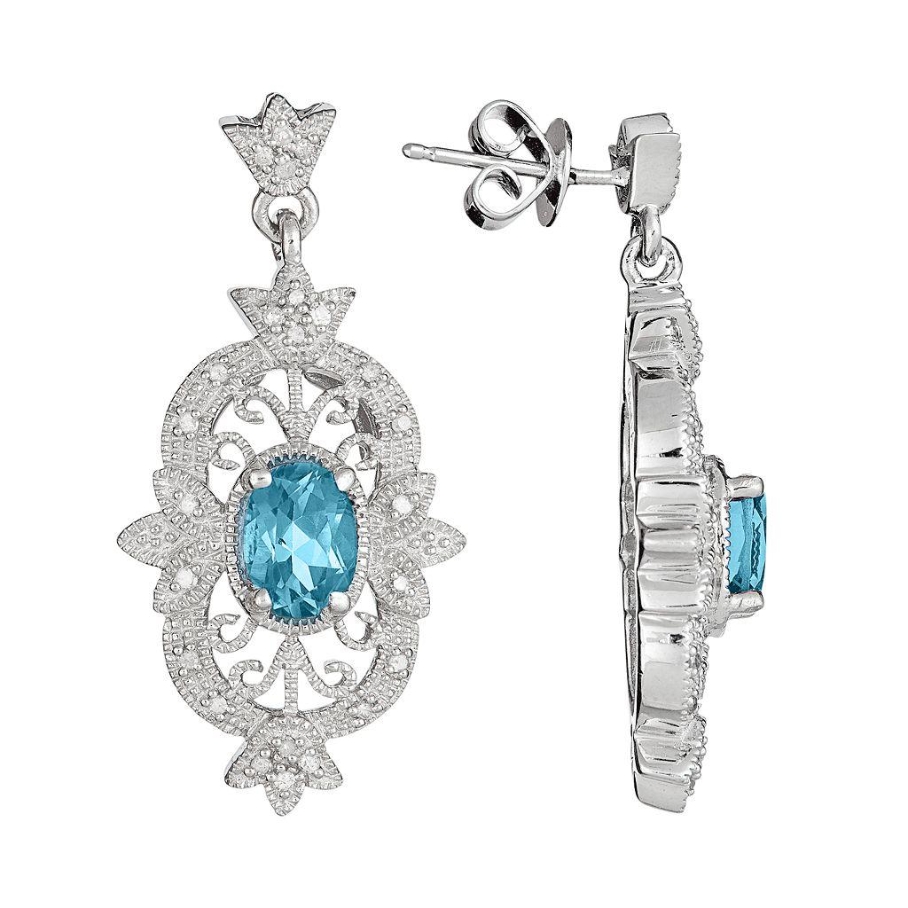 Sterling Silver Swiss Blue Topaz & 1/4-ct. T.W. Diamond Drop Earrings