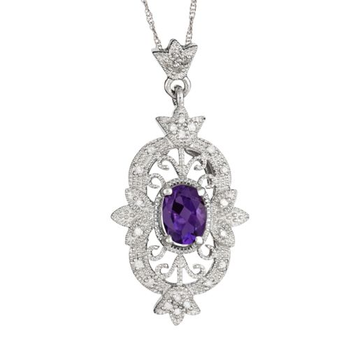 Sterling Silver Amethyst and 1/10-ct. T.W. Diamond Pendant