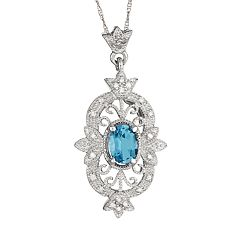 Sterling Silver Swiss Blue Topaz & 1/10-ct. T.W. Diamond Pendant