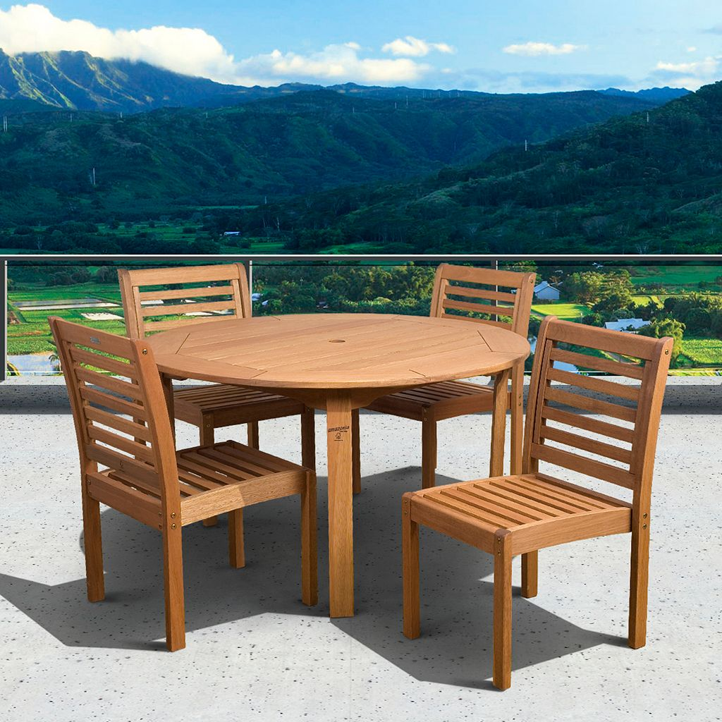 Amazonia Eucalyptus 5-pc. Round Dining Set - Outdoor