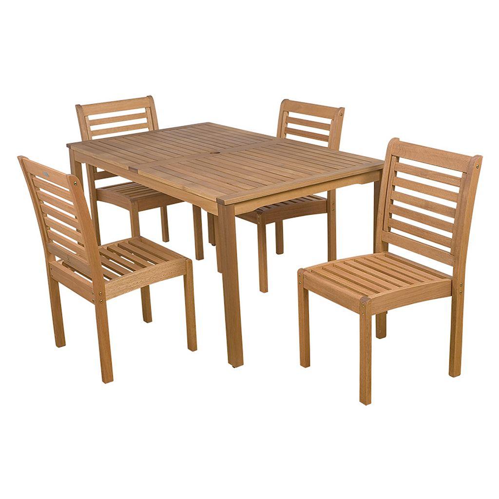 Amazonia Eucalyptus 5-pc. Rectangular Dining Set - Outdoor