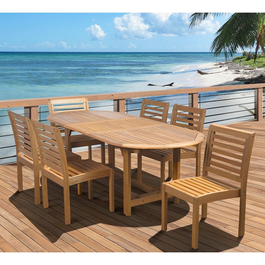 Amazonia Eucalyptus 7-pc. Extendable Oval Dining Set - Outdoor