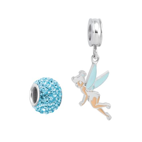 Disney Fairies Tinker Bell Sterling Silver Crystal Bead and Charm Set