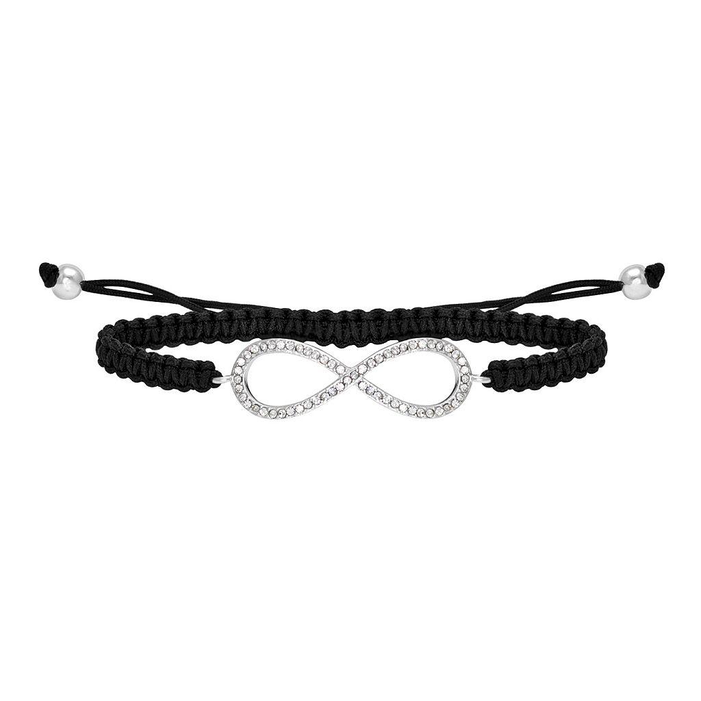 Silver-Plated Crystal Infinity Slipknot Bracelet