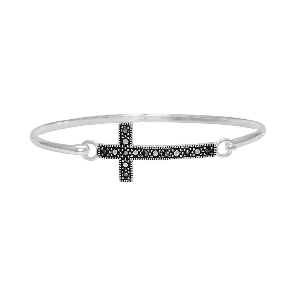 Silver-Plated Marcasite Sideways Cross Bangle Bracelet