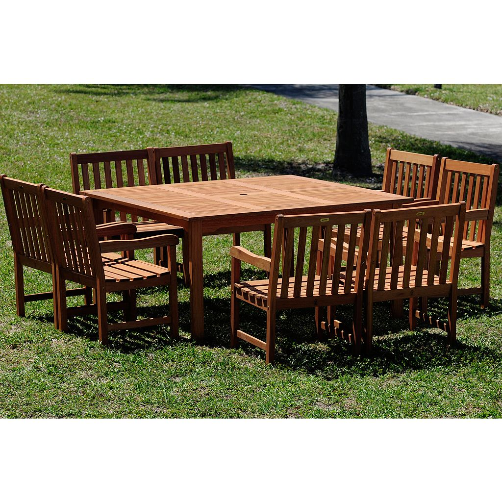 Amazonia Roma Deluxe 9-pc. Square Dining Set - Outdoor