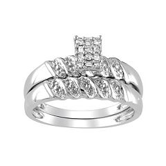 Diamond Engagement Ring Set in Sterling Silver (1/10 ctT.W.)