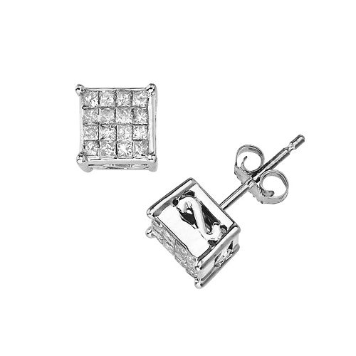 10k White Gold 1/2-ct. T.W. Diamond Square Stud Earrings