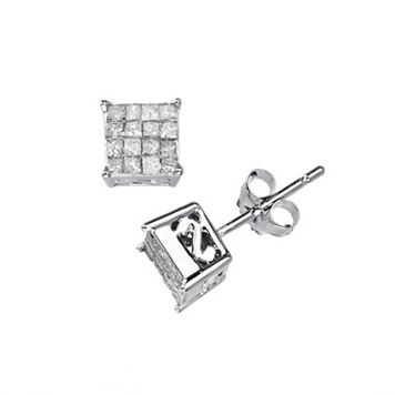 10k White Gold 3/8-ct. T.W. Diamond Square Stud Earrings