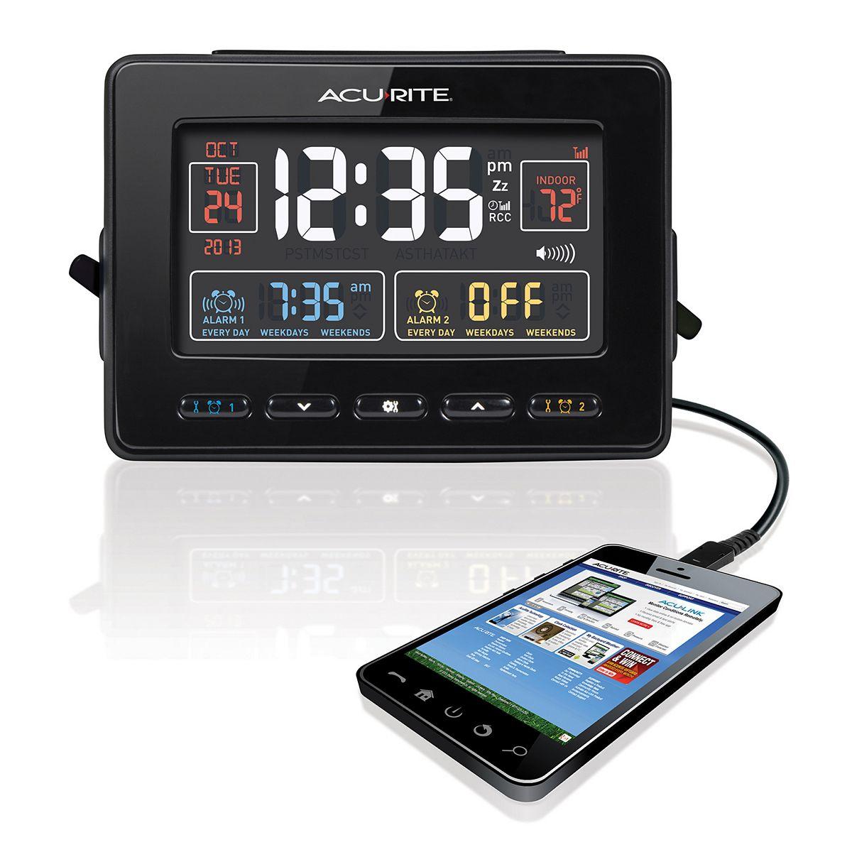 AcuRite Atomic Dual Alarm Clock with USB Charging rccGu
