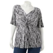 Apt. 9 Printed Knot-Front Top - Women's Plus