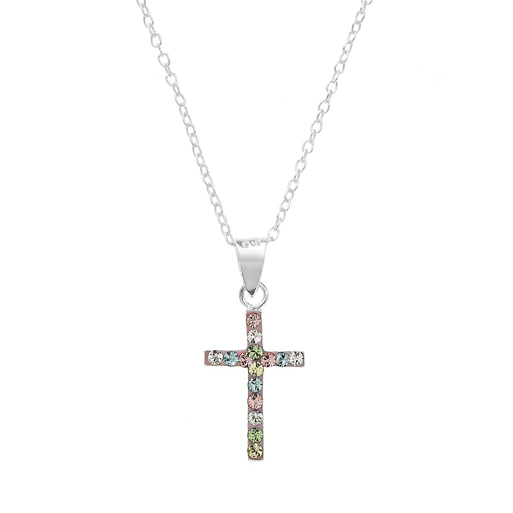 Sterling Silver Crystal Cross Pendant - Kids