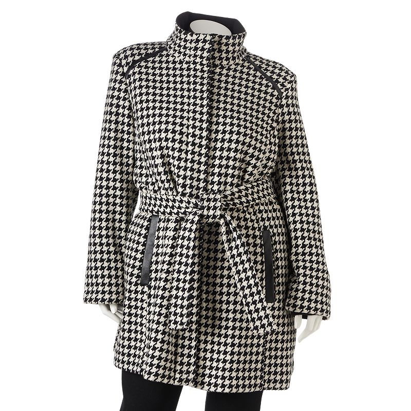 Women's Apt. 9 Houndstooth Wool-Blend Walker Coat Plus Size