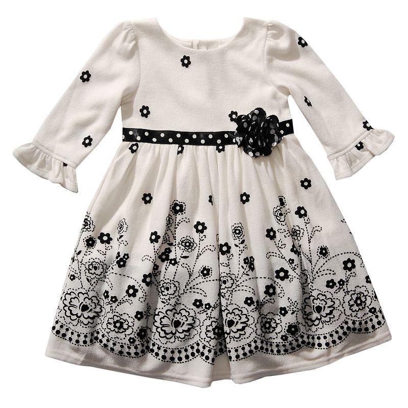 Youngland Flocked Floral Dress - Toddler