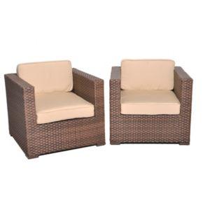 Atlantic Venetian Synthetic Wicker Arm Chair 2-piece Set