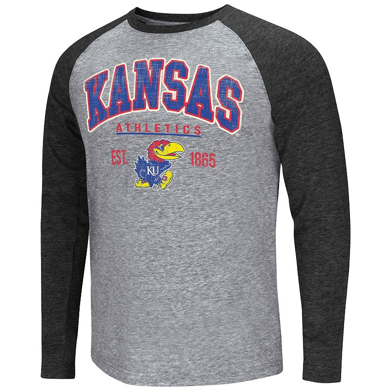 Colosseum Kansas Jayhawks Tri-Blend Raglan Tee - Men